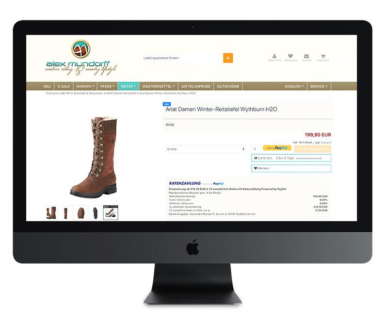 Landingpage für Online Webshop oder eCommerce Plattform . Realisierung durch die FIVE8 Marketing Agentur aus der Region Rosenheim