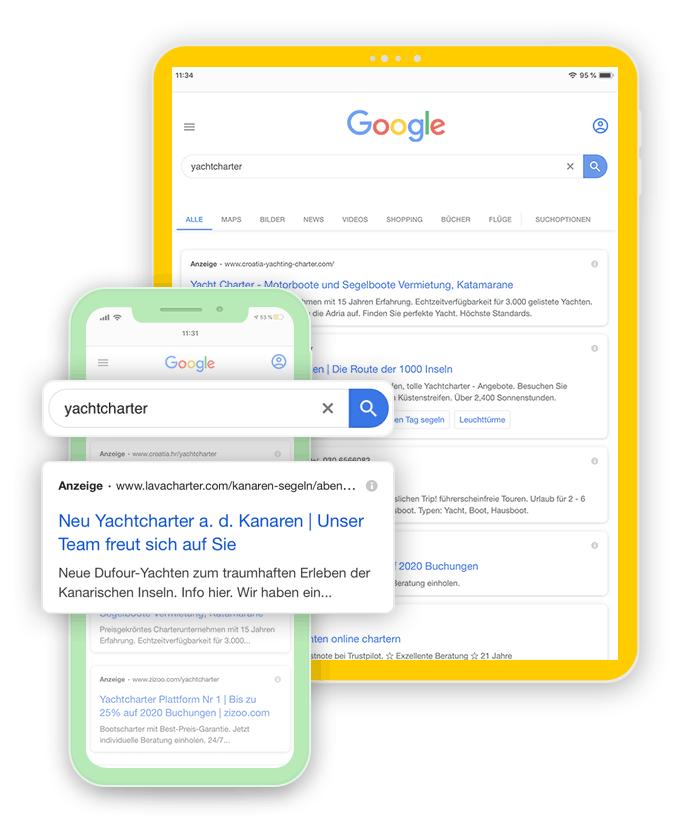 Werbung mit Google AdWords für Website und Online Shop in der Region Rosenheim, Raubling und Prien