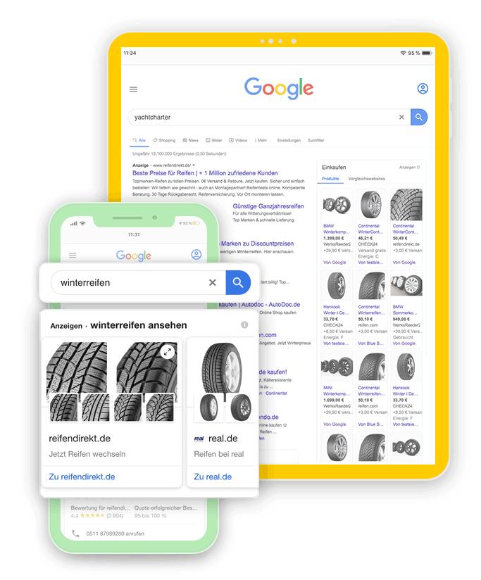 Online Shop Werbung für mehr Sichtbarkeit mittels Shopping Werbeanzeigen