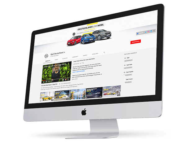 Foto: YouTube Kanal von Opel   |   Kompliment an die Rüsselsheimer, die mit Abstand den professionellsten Auftritt in YouTube hinlegen. Die Frequenz der Veröffentlichungen und die Resonanz der Nutzer zeigen, dass Opel YouTube als Marketing-Instrument sehr ernst nimmt.
