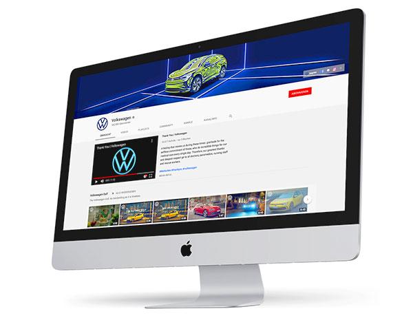 Foto: YouTube Kanal von VW   |   Die Tester bemängeln das Fehlen bekannter Videos auf der Kanalseite. Und auch wenn die Wolfsburger mit ihren Abonnenten sich vor Opel und BMW positioniert haben, wäre die Trennung nach Videoclip in deutscher und englischer Sprache in unterschiedlichen Kanälen ein empfehlenswertes Argument.