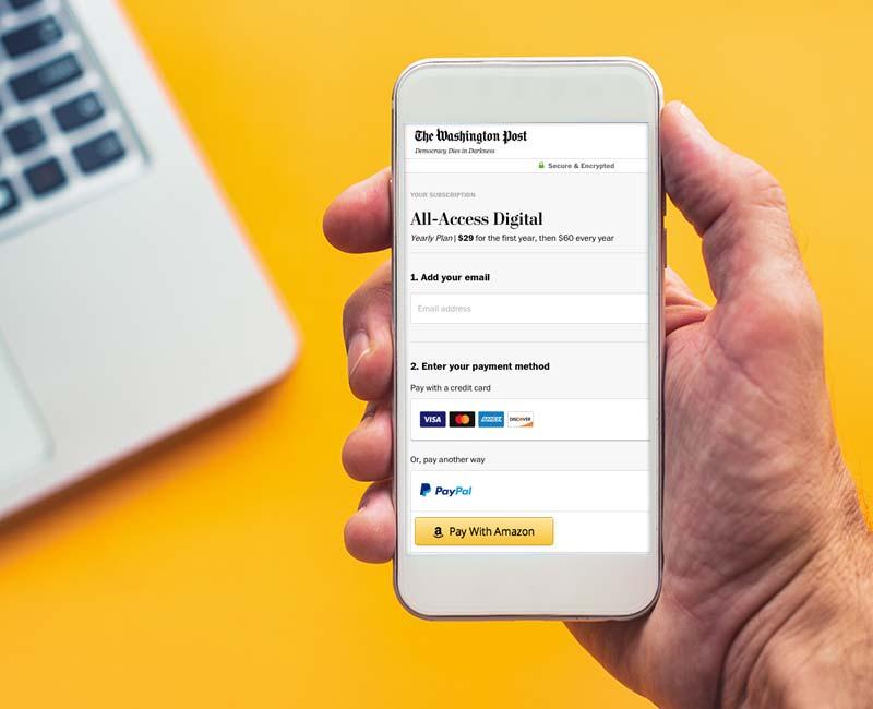 Einfache und bequeme Abo-Bezahlung der Washington Post mittels Amazon Pay